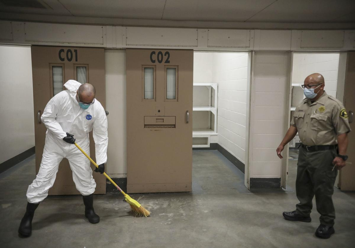 Inmates cell being disinfectant