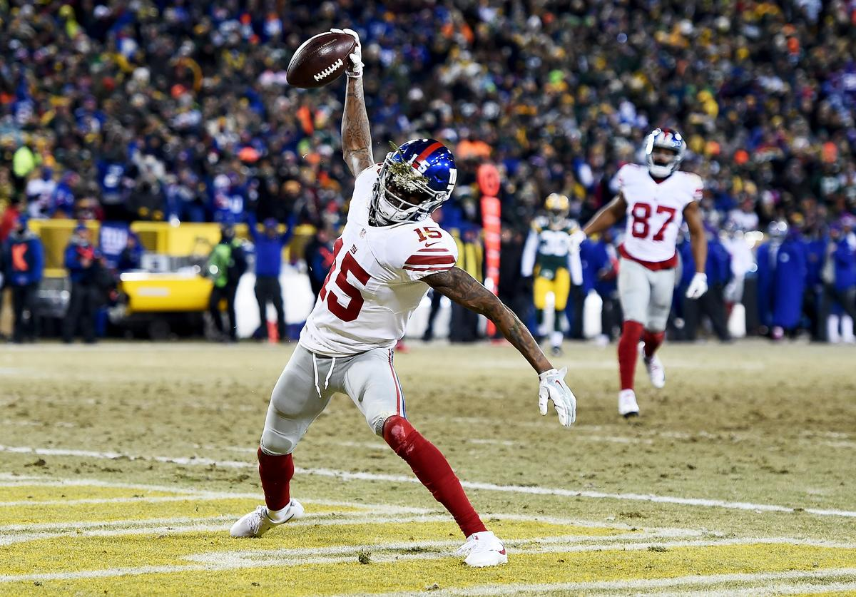 Tavarres King #15 of the New York Giants celebrates after scoring a touchdown in the third quarter during the NFC Wild Card game against the Green Bay Packers at Lambeau Field on January 8, 2017 in Green Bay, Wisconsin.
