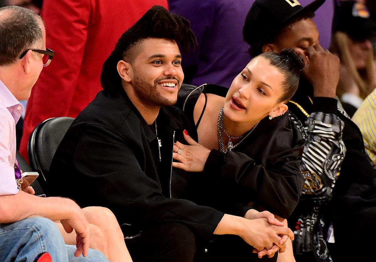 The Weeknd (Abel Tesfaye) & Bella Hadid are seen sitting courtside as the Los Angeles Lakers take on the Utah Jazz at Staples Center on April 13, 2016 in Los Angeles, California.