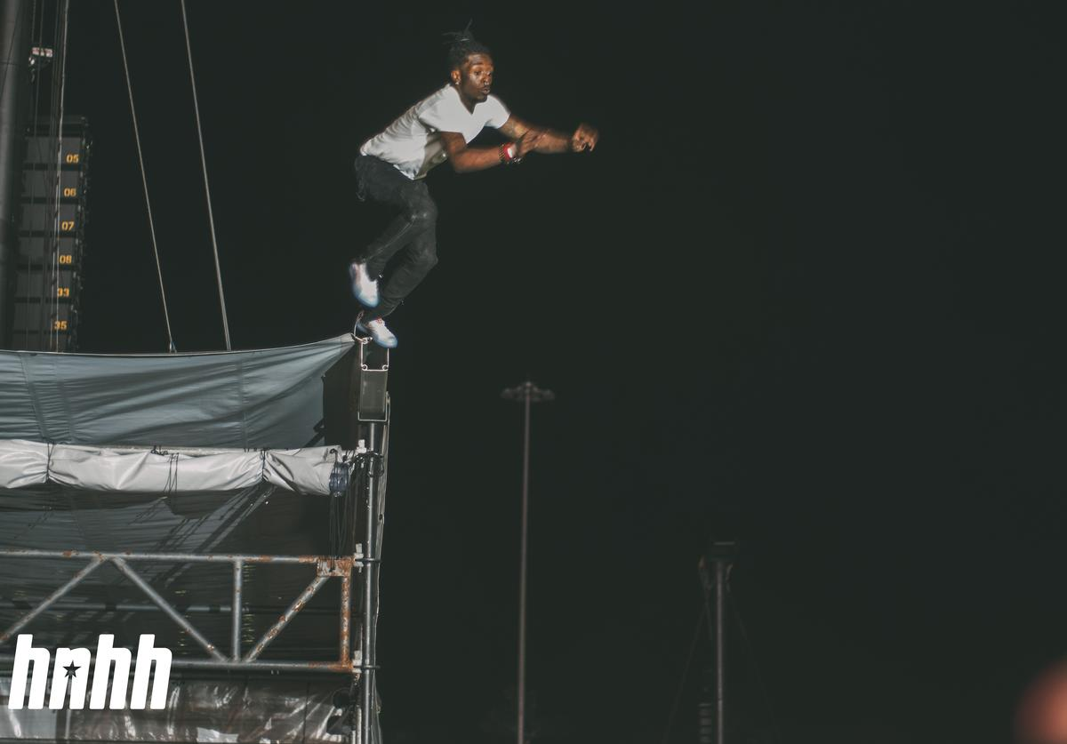 Lil Uzi Vert jumping off the stage at Rolling Loud 2018