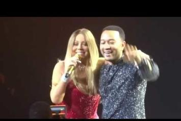 "Mariah Carey Blindfolds John Legend For ""Touch My Body"" Performance"