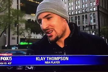 Klay Thompson Speaks On Scaffolding During Random NYC Interview