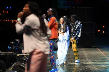 """A Very Pregnant Cardi B Performs """"Motorsport"""" With The Migos"""