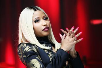 "Nicki Minaj Caresses A Mysterious ""Canadian Tuxedo"" Clad Man"