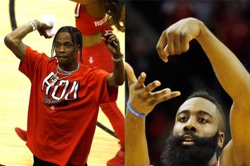Travis Scott Celebrates James Harden's Buzzer-Beating Heroics