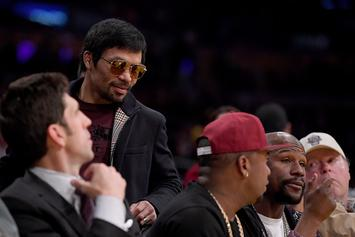 Pacquiao Spots Mayweather At Lakers Game, Awkward Handshake Ensues
