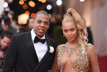 Beyonce Shows Off Cleavage With Jay-Z At Swizz Beatz' Art Event