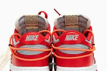 "Off-White x Nike Dunk Low ""University Red"" Drops Soon: Detailed Photos"