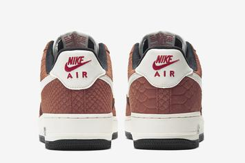 """Nike Air Force 1 Low Snakeskin In """"Red Bark"""" Coming Soon: Photos"""