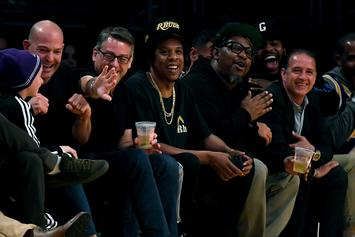 Jay Z Reacts To LeBron's Dunk While Sitting Courtside At Lakers x Bucks Game