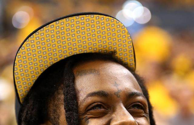 Lil Wayne at the Miami Heat v Indiana Pacers game