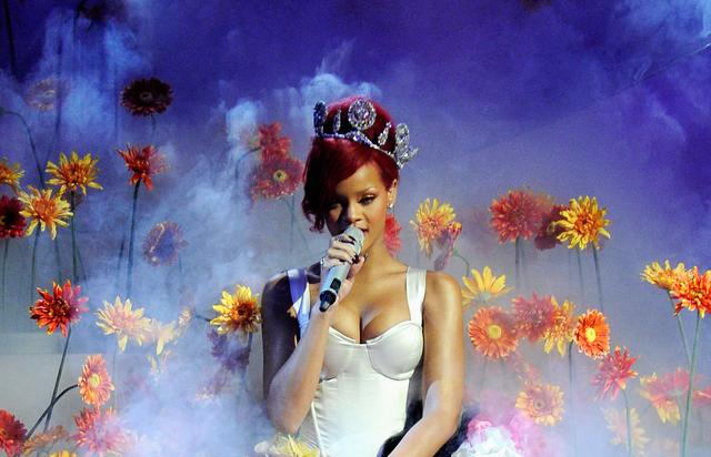 Rihanna performs during the MTV Europe Music Awards 2010 live show at La Caja Magica on November 7, 2010 in Madrid, Spain. (