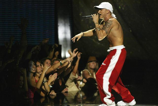 Eminem onstage performing at the 2002 MTV Video Music Awards at Radio City Music Hall in New York City, August 29, 2002.
