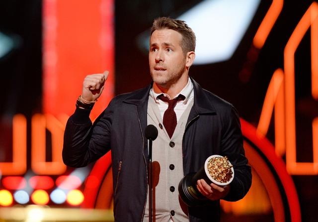 Ryan Reynolds of Deadpool wins an aware