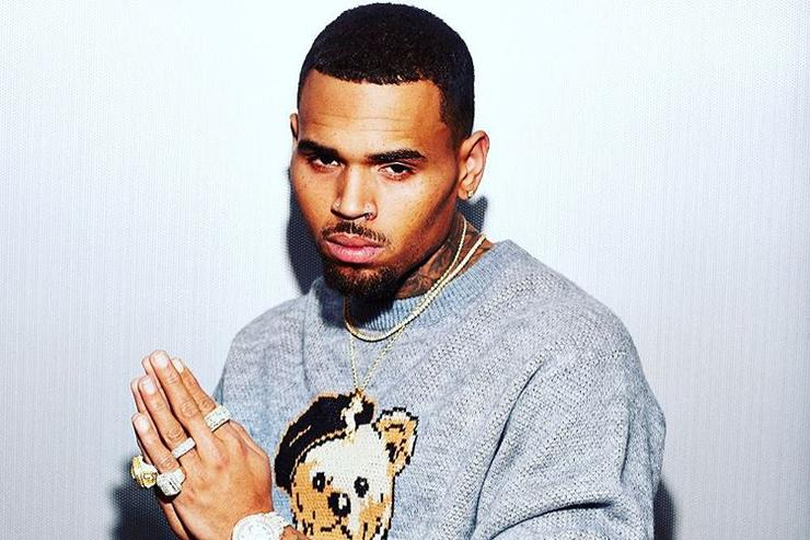 Chris Brown posing with polo sweater on