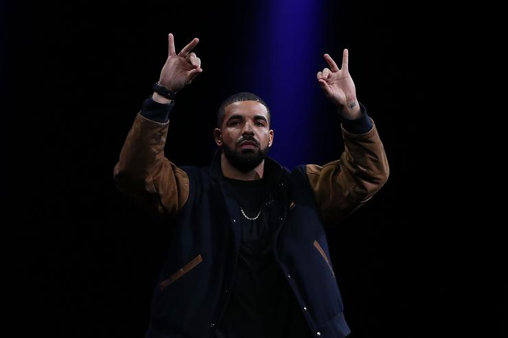 Caption:SAN FRANCISCO, CA - JUNE 08: Recording artist Drake speaks about Apple Music during the Apple WWDC