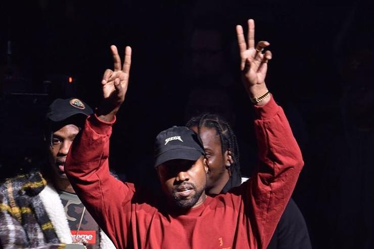 Kanye West on stage at Yeezy 3 showing at MSG