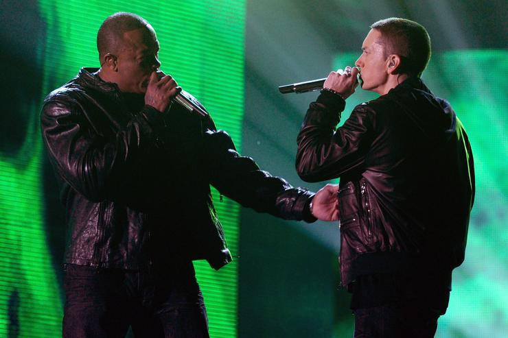 Eminem (R) and Dr. Dre perform onstage during The 53rd Annual GRAMMY Awards held at Staples Center on February 13, 2011 in Los Angeles, California.