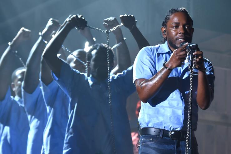 Kendrick Lamar performing at the Grammys 2016