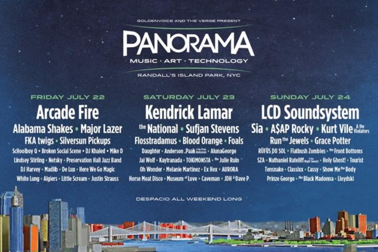 LCD Soundsystem, Arcade Fire, Kendrick Lamar,  A$AP Rocky, Run the Jewels, ScHoolboy Q, DJ Khaled, Anderson .Paak, Flatbush Zombies, SZA, Kaytranada, Madlib to perform at Panorama Music festival