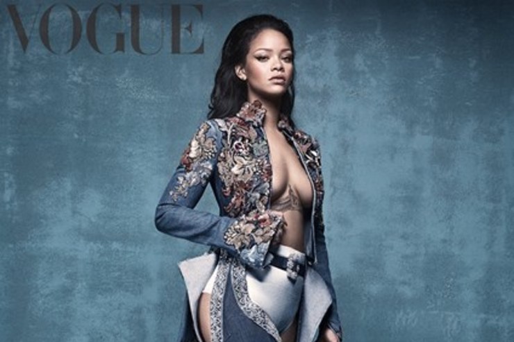 Rihanna shows off new boots in Vogue magazine