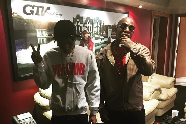 Birdman poses with his newest Cash Money signee J Soul