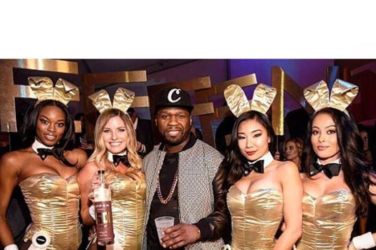50 Cent at a Playboy super bowl party.