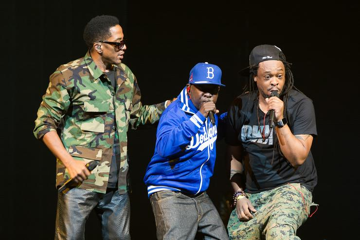 Q-Tip, Phife Dawg and Jarobi White of A Tribe Called Quest perform at Barclays Center on November 20, 2013 in New York City.