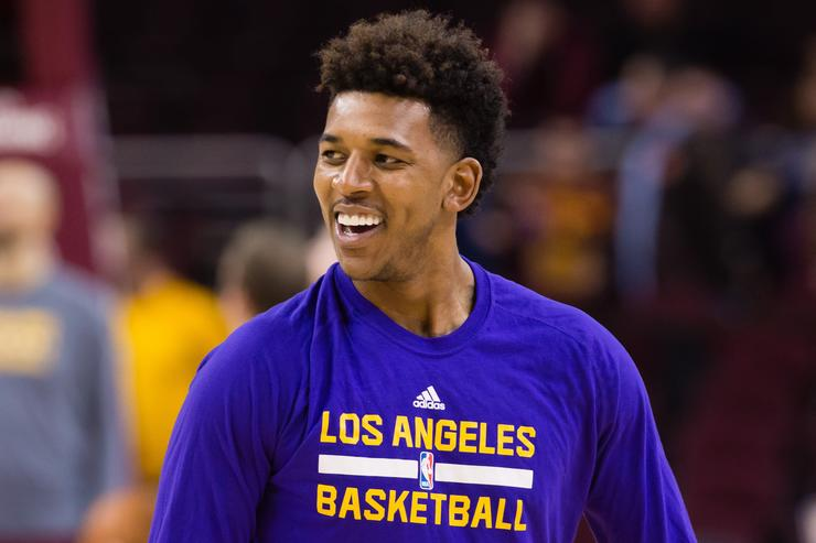 Nick Young warming up