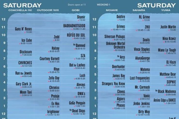 Coachella Day 1 Schedule