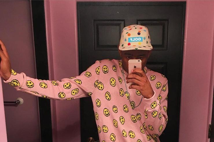 Tyler, The Creator takes a mirror selfie.