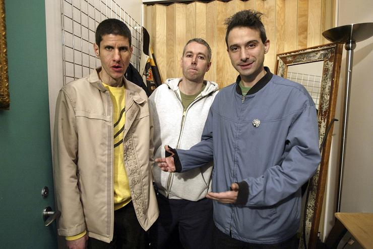 Rappers Michael Diamond 'Mike D', Adam Yauch 'MCA', and Adam Horovitz 'Ad-Rock' of the Beastie Boys pose in the dressing room before taping MTV's Direct Effect April 26, 2004 in the MTV Times Square Studio in New York City.