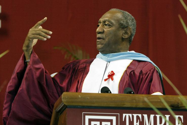 Comedian and member of the Board of Trustees of Temple University Bill Cosby speaks to the Class of 2003 at Temple University's commencement ceremony in The Liacouras Center May 22, 2003 in Philadelphia, Pennsylvania.