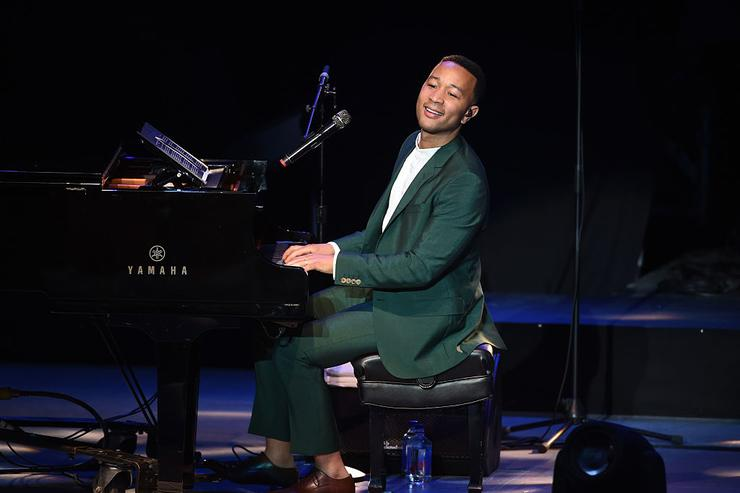 Musician John Legend performs onstage during the 'Hillary Clinton: She's With Us' concert at The Greek Theatre on June 6, 2016 in Los Angeles, California.