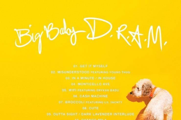 """tracklist & back cover art for D.R.A.M. """"Big Baby DRAM"""""""