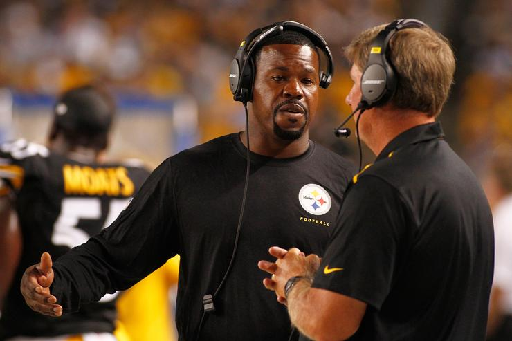Assistant coach Joey Porter of the Pittsburgh Steelers looks on during the second quarter against the Buffalo Bills at Heinz Field on August 16, 2014 in Pittsburgh, Pennsylvania.