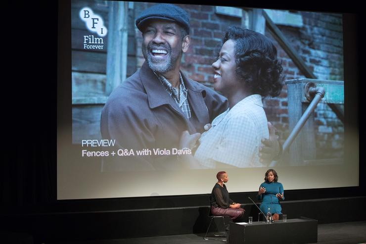 iola Davis (right) talks to Gaylene Gould during a q&a at a preview screening of 'Fences' of at BFI Southbank on January 14, 2017 in London, England.