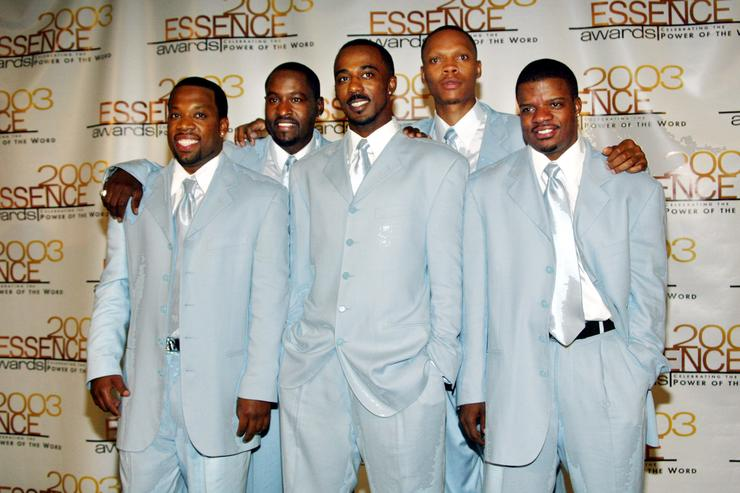 Recording artists New Edition attends the 16th Annual Essence Awards at the Kodak Theatre on June 6, 2003 in Hollywood, California. The show will air on the Fox network on June 27, 2003.
