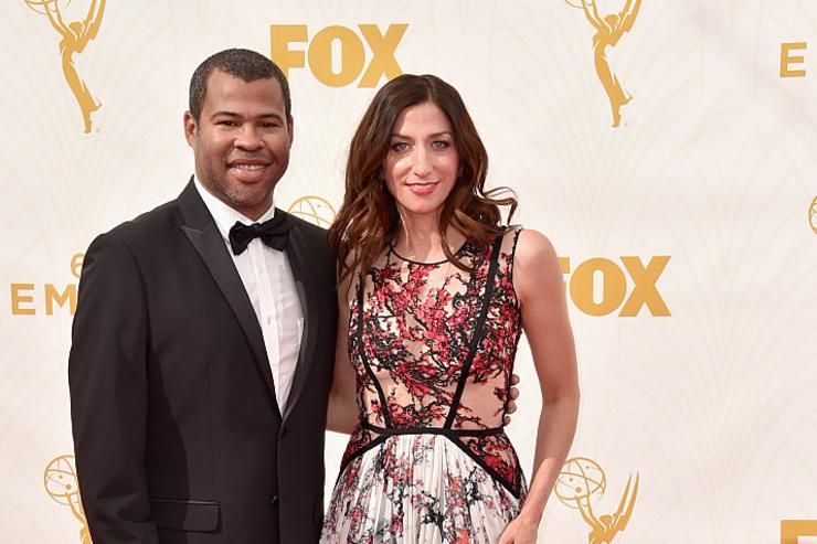 Actor Jordan Peele (L) and Chelsea Peretti attend the 67th Emmy Awards at Microsoft Theater on September 20, 2015 in Los Angeles, California.