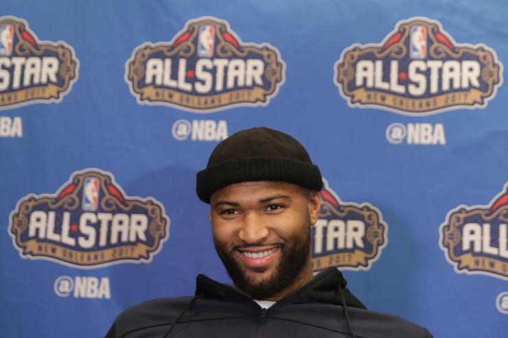 DeMarcus Cousins #15 of the Sacramento Kings speaks with the media during media availability for the 2017 NBA All-Star Game at The Ritz-Carlton New Orleans on February 17, 2017 in New Orleans, Louisiana.