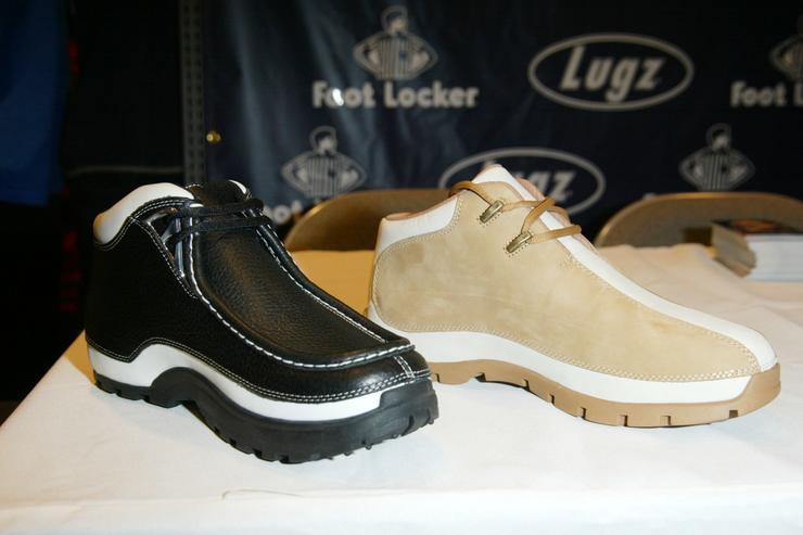 The new FMF-1 Driving Shoe by Lugz sits on display during the launch of the Lugz/Funkmaster Flex FMF-1 Driving Shoe at a Foot Locker store January 30, 2003 in New York City.