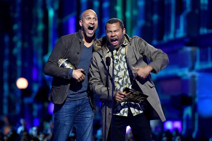 Actors Keegan-Michael Key (L) and Jordan Peele speak onstage during the 2016 MTV Movie Awards at Warner Bros. Studios on April 9, 2016 in Burbank, California. MTV Movie Awards airs April 10, 2016 at 8pm ET/PT.