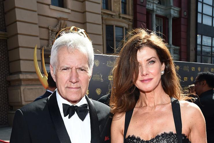 TV personality Alex Trebek (L) and Jean Currivan Trebek attend The 42nd Annual Daytime Emmy Awards at Warner Bros. Studios on April 26, 2015 in Burbank, California.