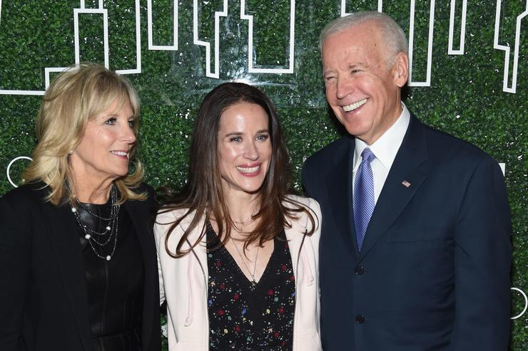 Dr. Jill Biden, Livelihood founder Ashley Biden and Vice President Joe Biden attend the GILT and Ashley Biden celebration of the launch of exclusive Livelihood Collection at Spring Place on February 7, 2017 in New York City.