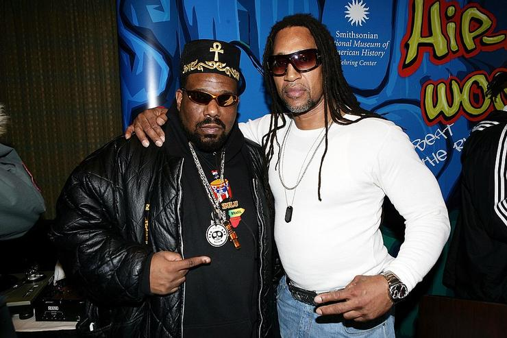 Hip hop pioneers Afrika Bambaataa (L) and Kool Herc pose for a photo during a press conference to announce the launch of The Smithsonian's 'Hip-Hop Won't Stop: The Beat, The Rhymes, The Life' at the Hilton Hotel February 28, 2006 in New York City.