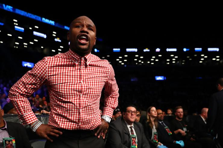 Floyd shouting instructions during IBF Junior Lightweight Championship