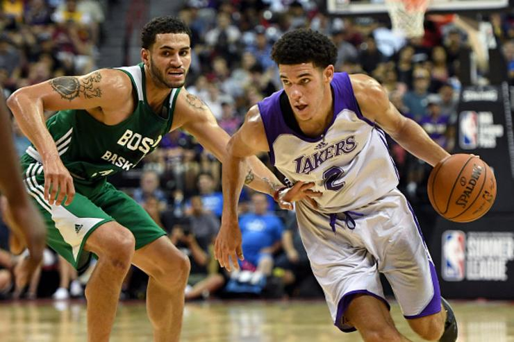Lonzo drives against Boston's Abdel Nader