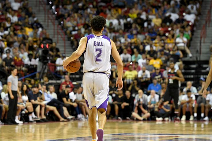 Lonzo brings ball up the court during Summer League