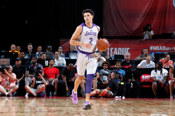 "Lonzo rocking the ""Purple Dust"" Kobe AD"