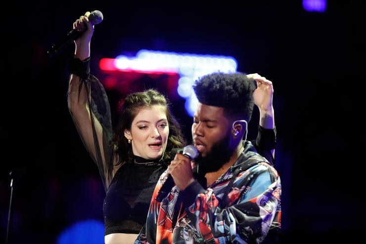 Lorde (L) and Khalid perform onstage during the 2017 iHeartRadio Music Festival at T-Mobile Arena on September 23, 2017 in Las Vegas, Nevada